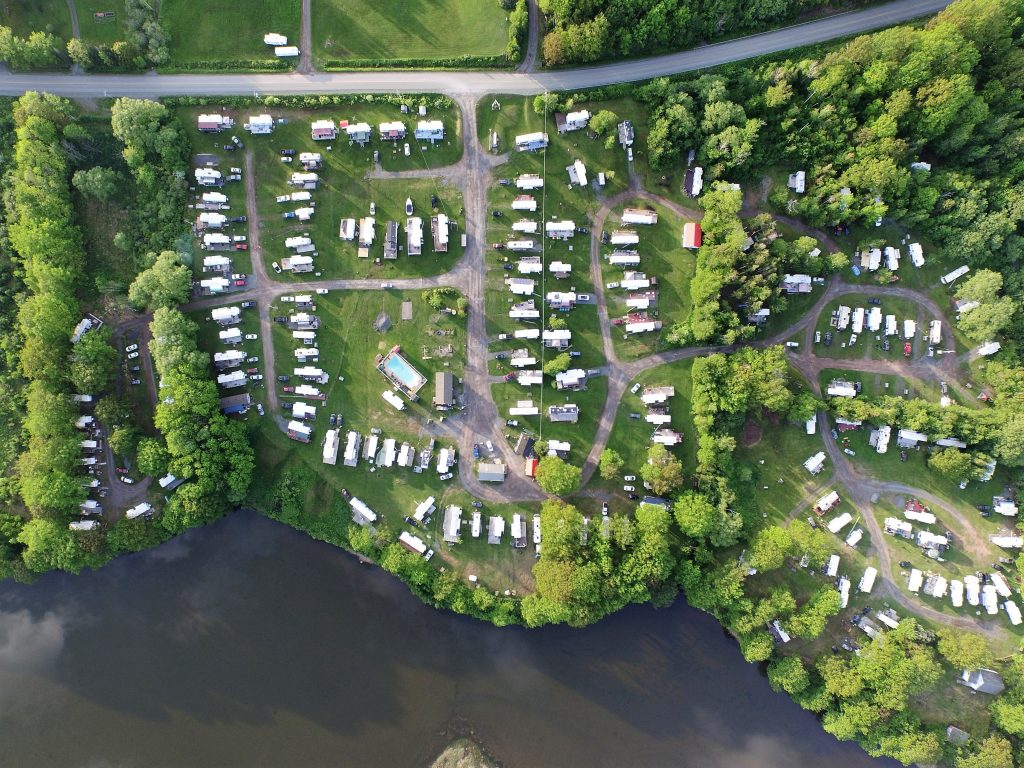 Aerial image of Harbour Light Campground, Pictou NS.