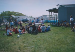Image of a class from Pictou Elementary visiting Harbour Light Campground.