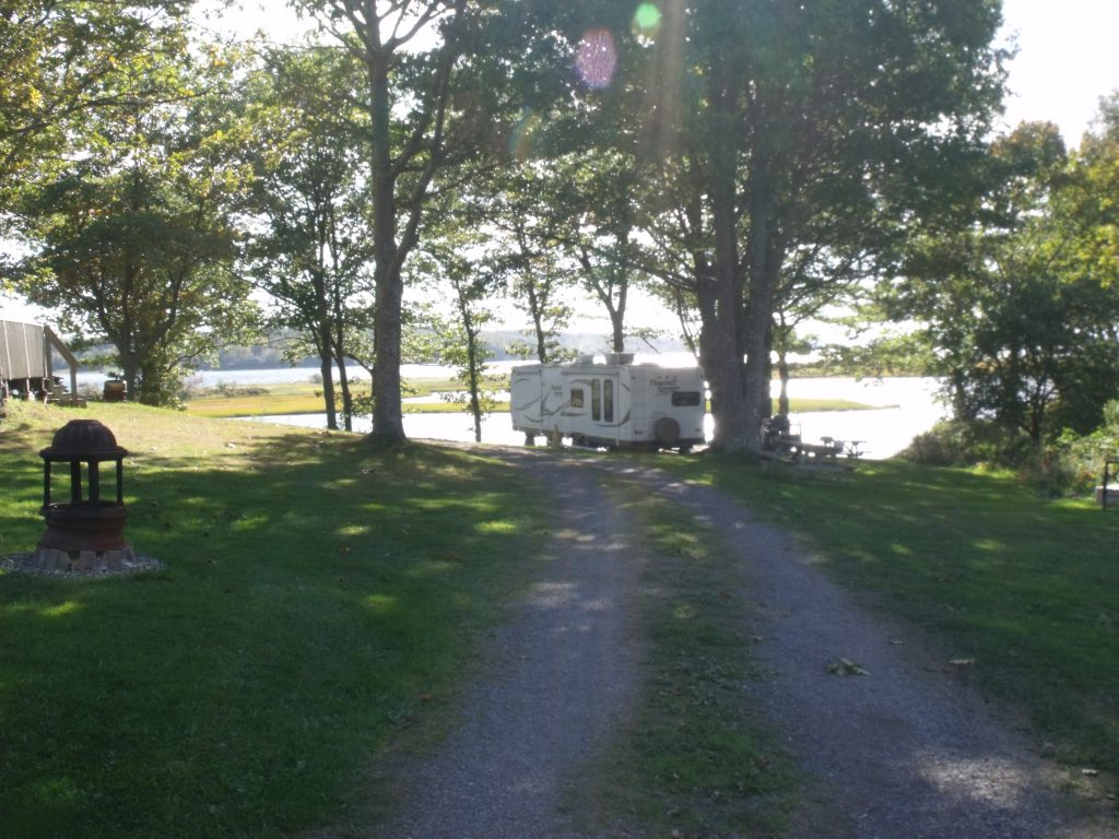 Image of the view overlooking the water on the hill section of Harbour Light Campground.