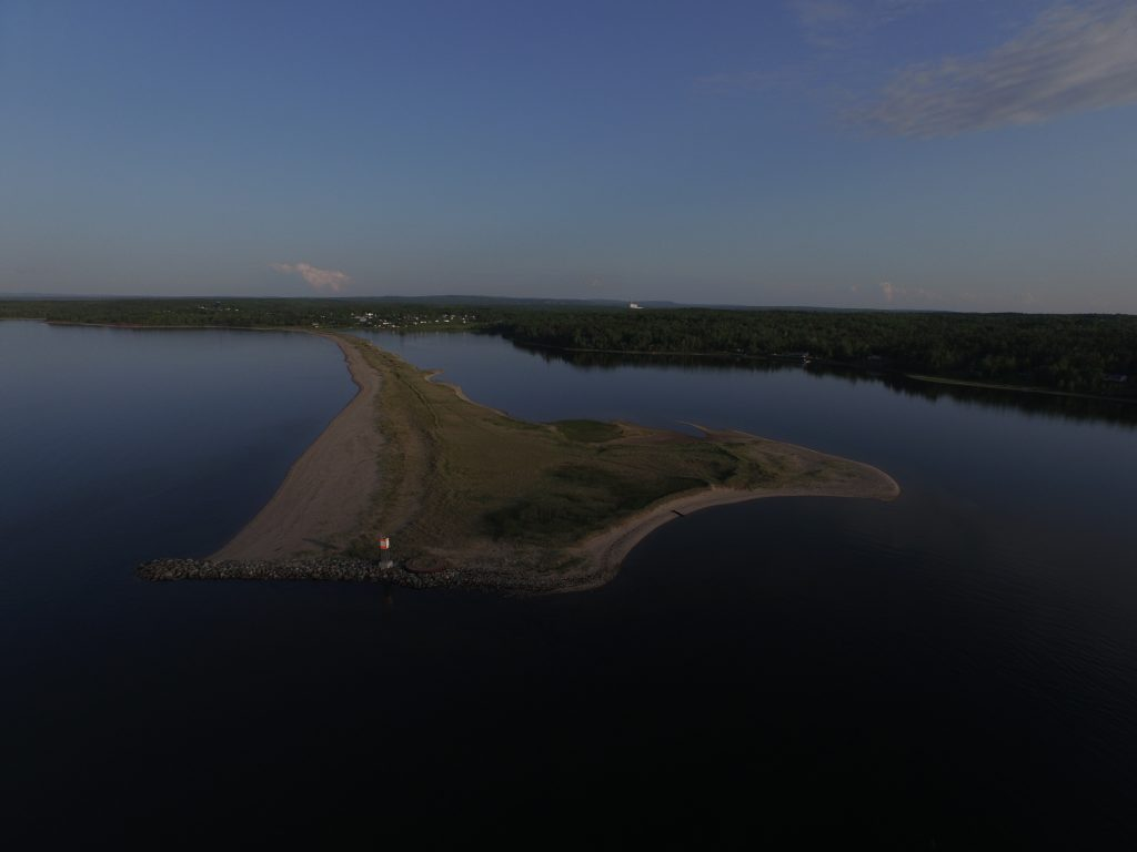 Aerial image of the peninsula across from Harbour Light Campground, Pictou NS.