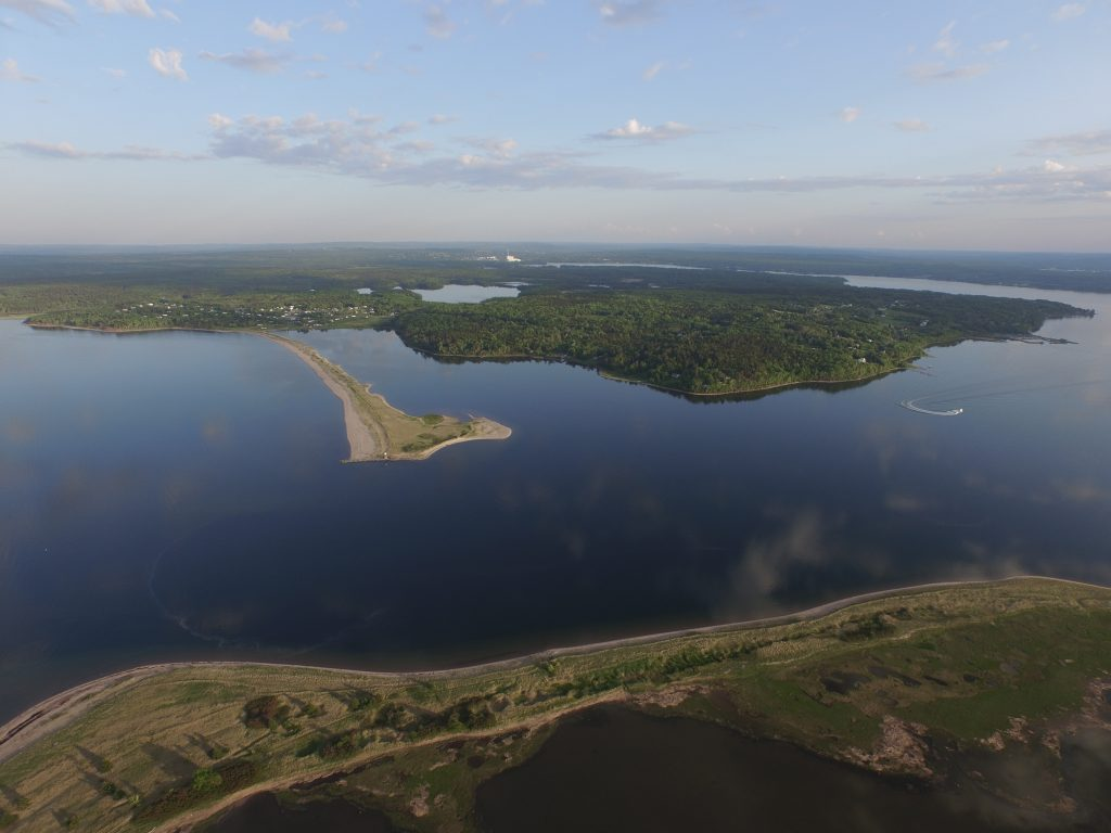 Aerial image of beach and view at Harbour Light Campground, Pictou NS.