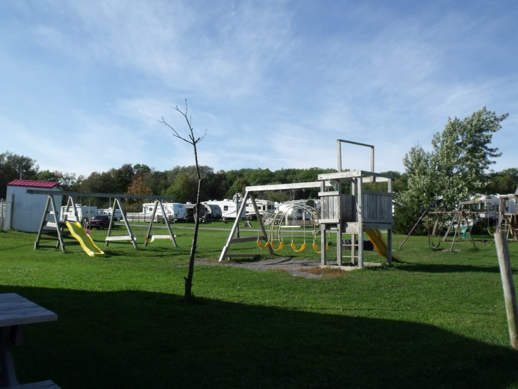 Image of the playground at Harbour Light Campground, Pictou NS.