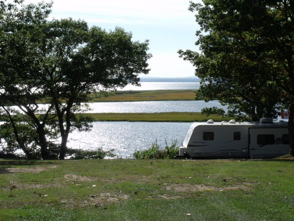 Image of the view of Harbour Light Campground, overlooking the water and close to the beach.